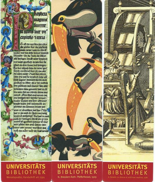 3 boekenleggers van Universitätsbibliothek Salzburg