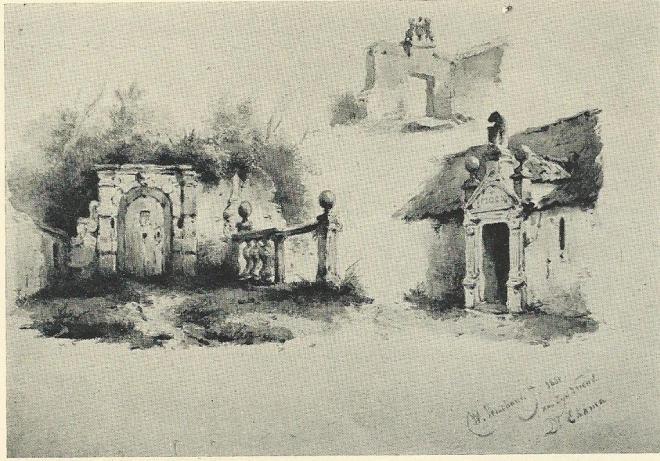 Kasteelruïne Heemstede, naar een aquarel van W.Verschuur, 1861 (NH-Archief).
