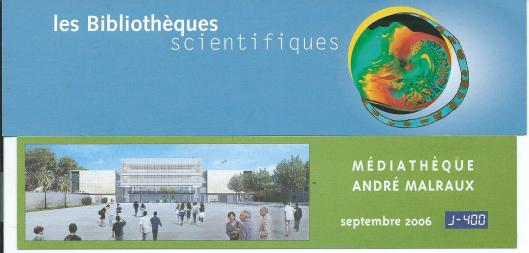 Boekenleggers van 1) Les bibliothèques scientifiques de France, en la médiathèque André Malraux in Beziers.