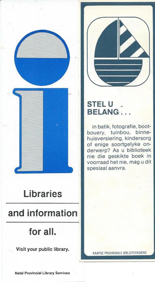 Boekenleggers van: 1) Natal Provincial Library Services en 2) Cape Provincial Library Service [Zuid-Afrika/South Africa)