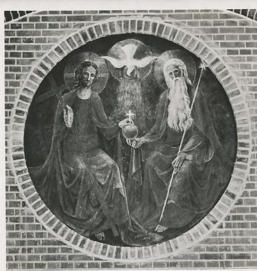'De heilige Drievuldigheid', wandschildering in de kapel van Mariastichting Haarlem door Han Bijvoet (kaart uit 1961)