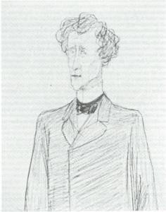 Karikatiir van H.F.Waller (1831-1919) door W.J.H.Mulier in 1894/1895. Waller was van 1873 tot 1906 voorzitter van het Haarlemse Leesmuseum