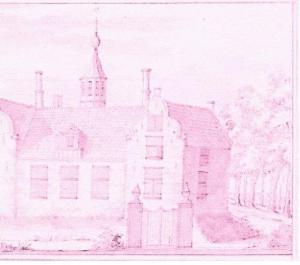 Huis te Vogelenzang van de zijkant gezien ten tijde van eigenaar Jan van Marcelis (1731-1791) Tekening door Jacobus Stellingwerf, 1726 (Bibliotheek Rotterdam)