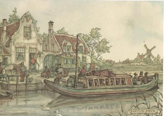 'De veerschipper', tekening door Anton Pieck.