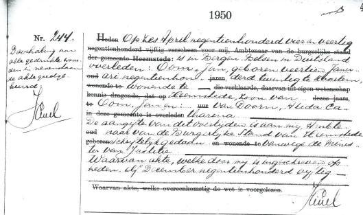 Bericht overlijden van Jan Oom in Bergen Belsen [Bevolkingsregister Heemstede].