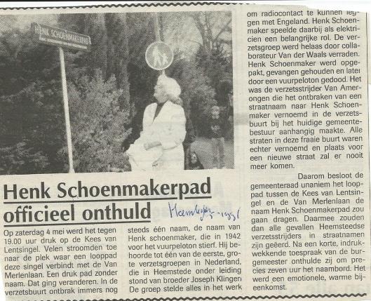 Henk Schoenmakerpad officieel onthuld. Uit: de Heemsteder, 8-8-1996.