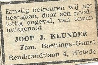 Rouwadvertentie Joop J.Klunder. Uit: Haarlem's Dagblad van 19-12--1944