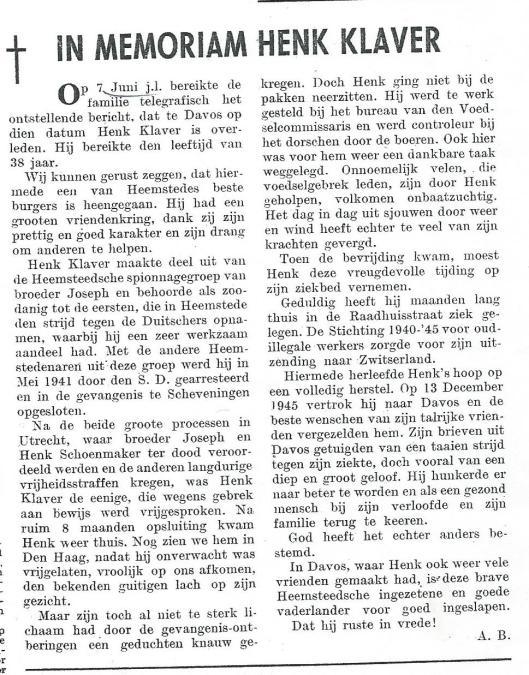 In Memoriam Henk Klaver. UIt: Katinpers, 21 juni 1946