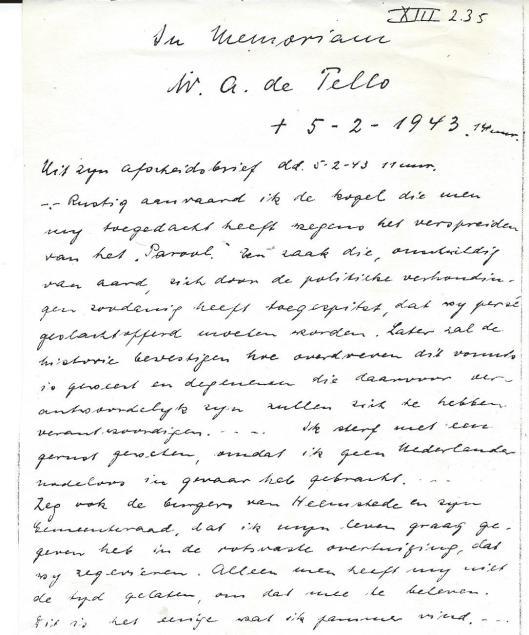 In Memoriam, uit laatste brief van W.A.de Tello, geschreven kort voor zijn terechtstelling