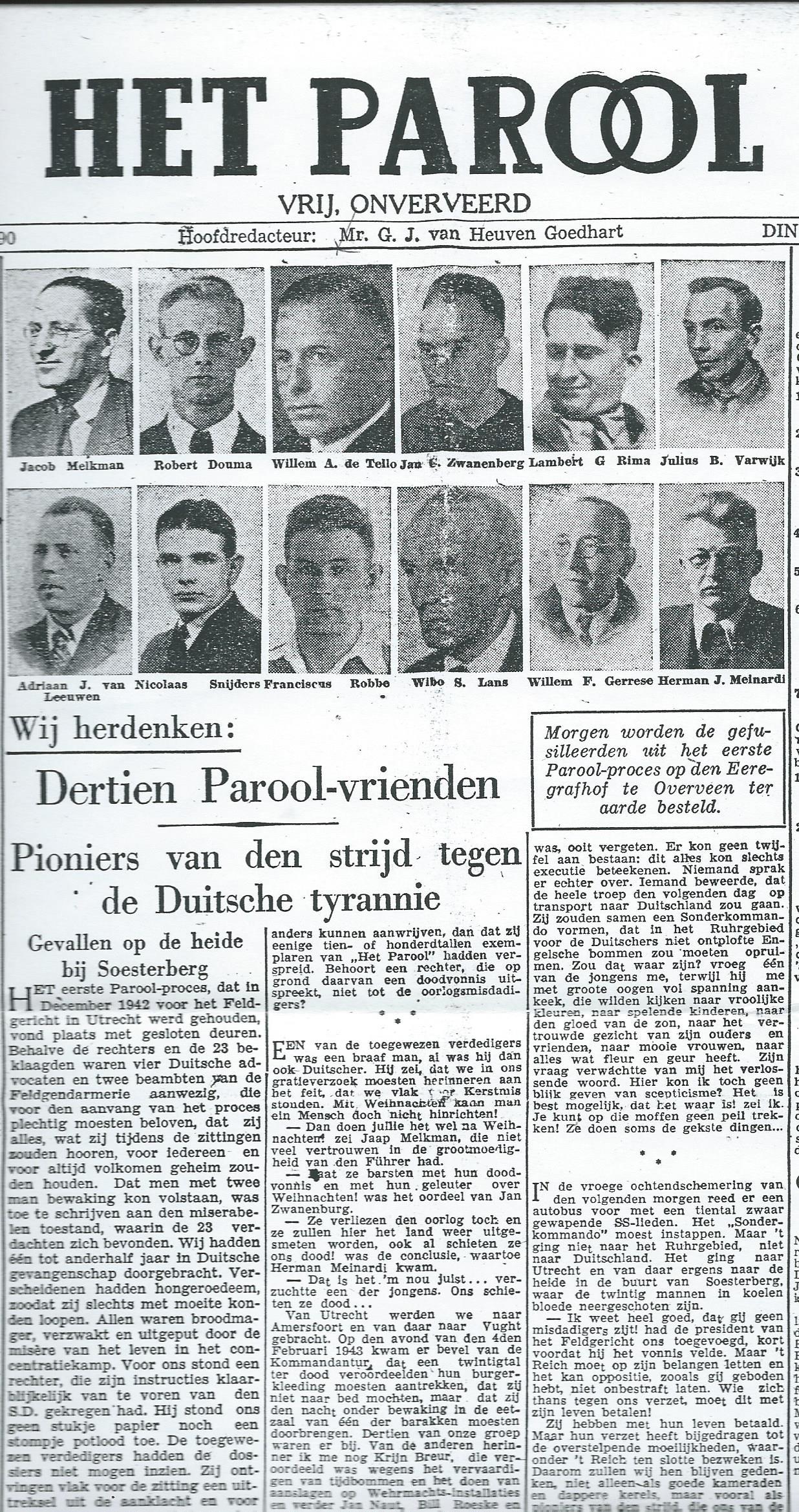 Herdenking Willem A.de Tello en 12 andere Parool-medewerlers. Uit: Het Parool van 18 december 1945