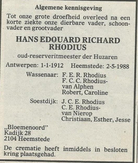 Overlijdensbericht Hans Edouard Richard Rhodius (1912-1988). Uit: Haarlems Dagblad, 5 mei 1988