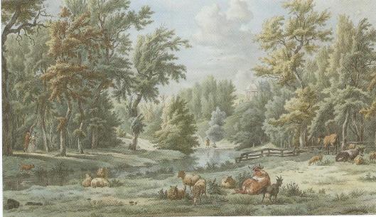 Landschappelijk gezicht in Elswout door Hendrik Schwegman (1761-1816) uit Haaelem, (die een neef was van de hovenier van Elswout), 1796. Prent naat een tekening van Egbert van Drielst uit datzelfde jaar, waarbij Jacob Cats de figuren tekende.