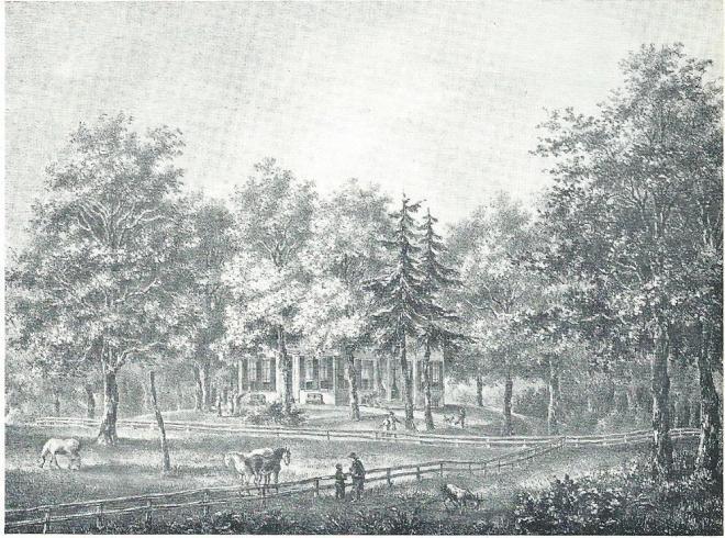Litho van Huis te Vogelenzang door P.J.Lutgers, circa 1842