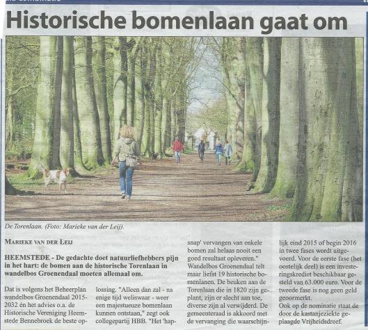 Historische bomen Torenlaan Groenendaal gaan om (Marieke van der Leij, Heemsteedse Courant, 22 april 2015).