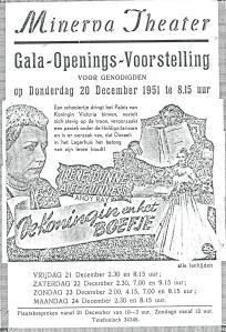 Adv. van Gala-Openings-Voorstelling 20 december 1951 met de film 'De koningin en het boefje'.
