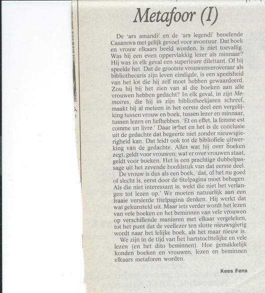 Column van Kees Fens gewijd aan Casanova (Uit De Volkskrant van 11-11-1995)