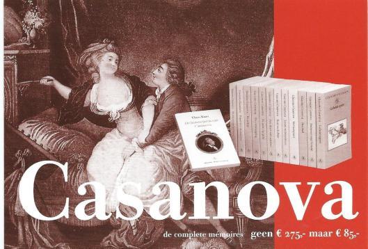 Promotiekaart: 13 delen met complete memoires van Casanova voor 85 in plaats van 275 euro