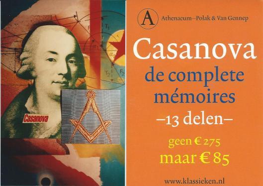 Llnks: promotiekaart, creatie Jacques Lardie; rechts: kaart 13 delen Casanova, een uitgave van Athenaeum-Polak & Van Gennep.