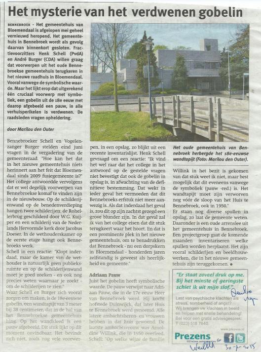 Het mysterie van het verdwenen gobelin in Bennebroek (Weekblad, 30-7-2015)