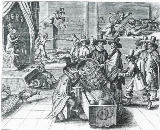 Hollandse spotprent op Engeland: 'De gehoonde Vryheyt'. Zinneprent op Cromwell en zijn daden.De Hollandse Leeuw ligt in een houten kist, in slaap gesust door een fluitspelende (Spaanse) Reinaard. De Hollandse ambassadeurs zijn Jacob Cats, Paulus van de Perre, Adriaan Pauw en Gerard Schaep als dieren (kat, hond, pauw en schaap) afgebeeld, daar 'sekere Duytser seyde doen ter tijt: Hebben de Staten geen ander stof als datse sulcke Dieren na Engelant senden (die noterende daer mede, dat alle haer Toe-namen Beesten waren.' (Rijksmsueum Amsterdam).