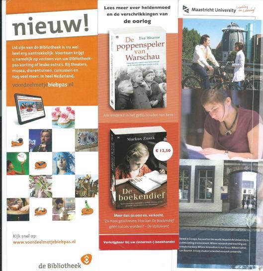 V.l.n.r. de bibliotheek, boek 'De boekendief' van Markus Zusak, Maastricht University