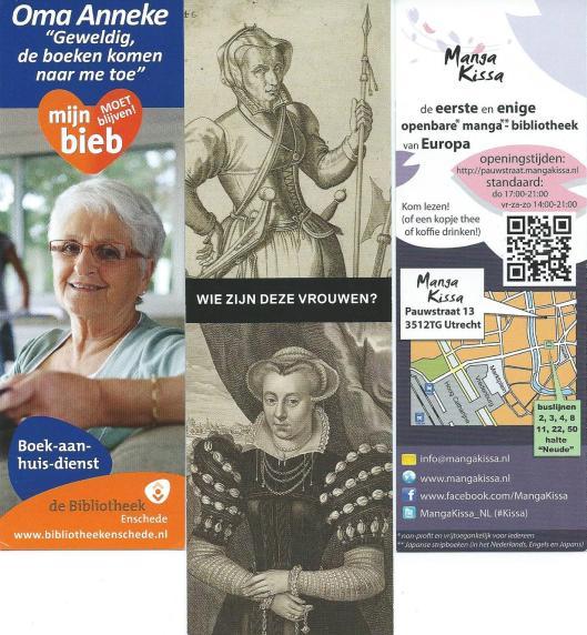 Boekenleggers, v.l.n.r. 1) bibliotheek Enschede, 2) Kenau (Haarlem) & Magdalena (Leiden) n.a.v. boek Els Kloek, Vrouwen in de Tachtigjarige Oorlog, 3) 'Manga-bibliotheek Utrecht.