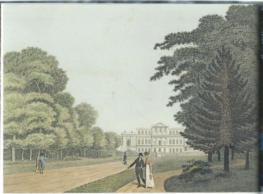 Kopergravure en kleurpenseel van Welgelegen/'t Paviljoen uit 1825