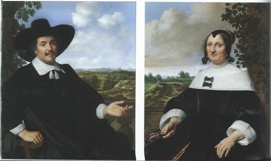 Portret van Gabriël Marselis en als pendant zijn echtgenote Maria van Arckel, in 1655 geschilderd door Bartholomeus van der Hulst. In de verte van het linkerpaneel is de oude Bavokerk in Haarlem te zien.