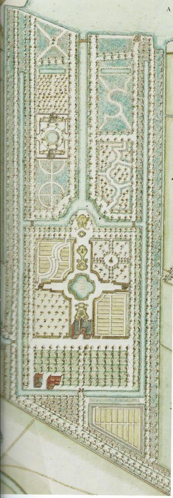 Kaarttekening geometrische tuin van 't Klooster met nieuw hoofdgebouw door Dirk Dirkszoon Klinkenberg uit 1744. Eigenaar was toen Arnold Blesen
