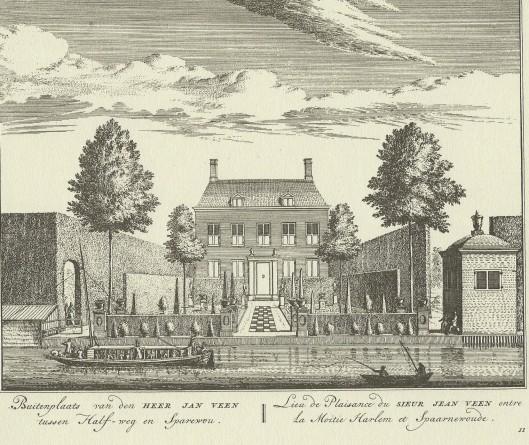 Een trekschuit in de Amsterdamse vaart tussen Amsterdam en Haarlem ter hoogte van de buitenplaats Meermond bij Halfweg (Abraham Rademaker, 1728).