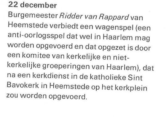 Verbod wagenspel in Heemstede door burgemeester van Rappard. Uit: Wim Hazeu, 'Wat niet mocht...', 1972