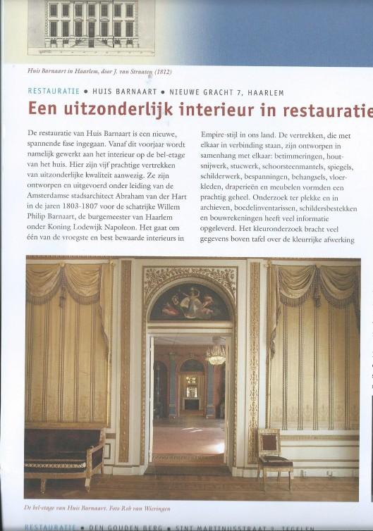 Restauratie Huis Barnaart Haarlem. Uit: berichten april 2015 van vereniging Hendrik de Keyser