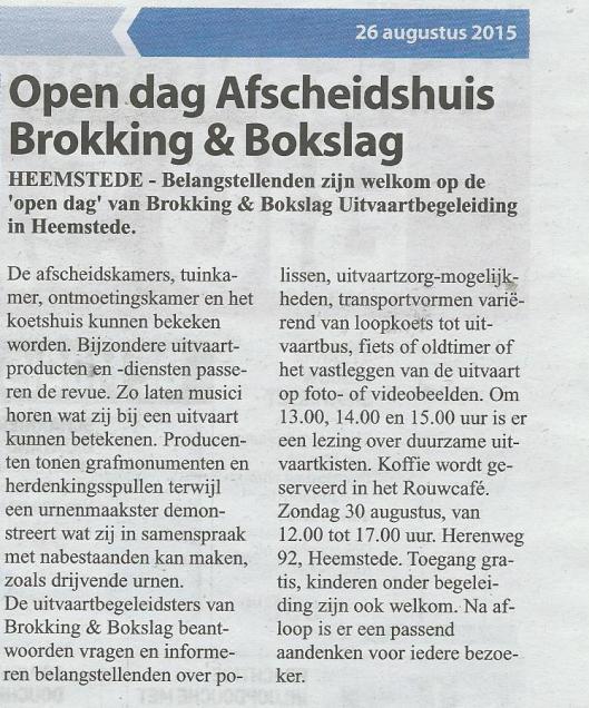 Open Dag' Brokking & Bokslag in Postlust (Heemsteedse Courant, 26 augustus 2015)