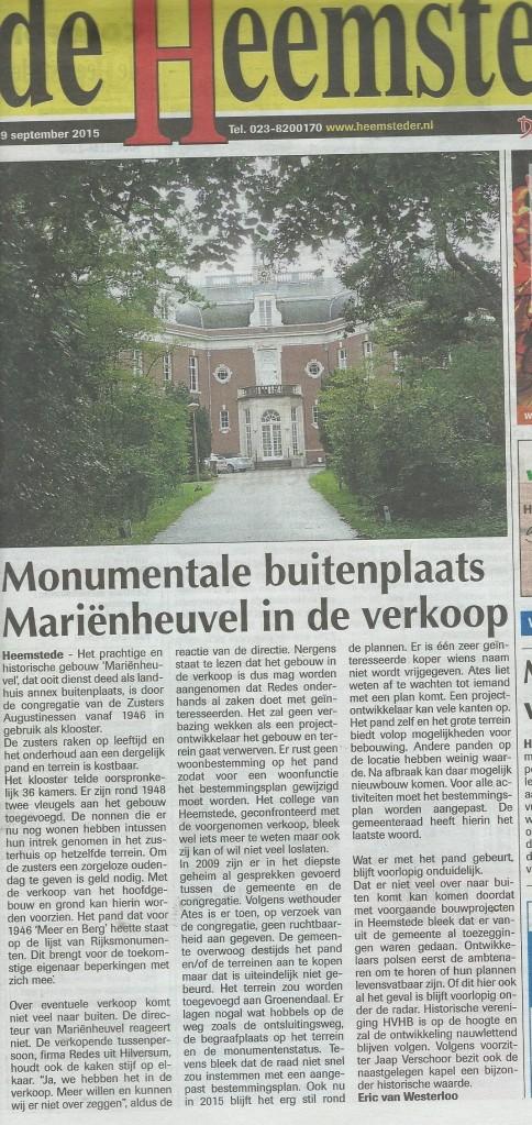 Bericht uit de Heemsteder van 9 september 2015.