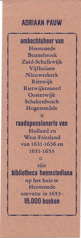 Boekenlegger Adriaen Pauw, 1985