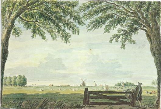 'Gezigt tussen 't huis te Crajenest en Bronstee richting het Spaarne. Links van het hel watermolen van de Schouwbroekerpolder en rechts aan de overzijde van het Spaarne molen de Eenhoorn