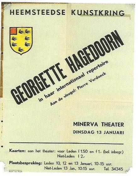 Affiche voor het optreden van de actrice en chansonnière Georgette Hagedoorn in het Minerva theater
