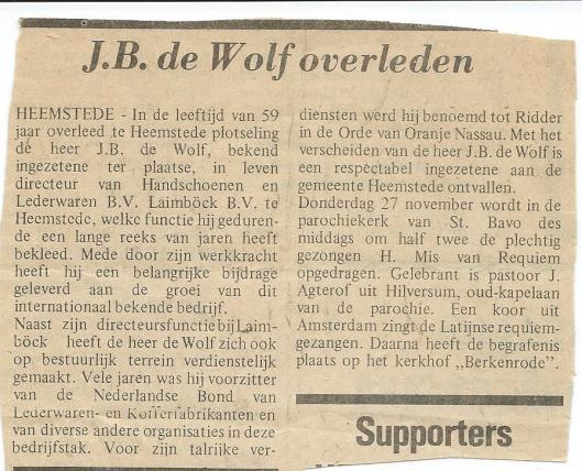 Bericht uit de Heemsteedse Courant over het overlijden van J.B. de Wolf. De heer J.A.Bomans publiceerde voorts een in memoriam in de Koerier Kombinatioe.