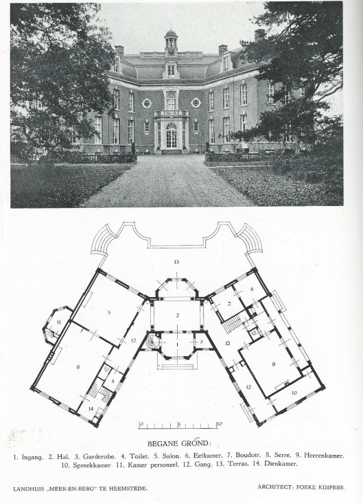 Meer en Berg (thans Mariënheuvel geheten), ontworpen door architect Foeke Kuipers. Uit: Het moderne landhuis in Nederland. 1922.