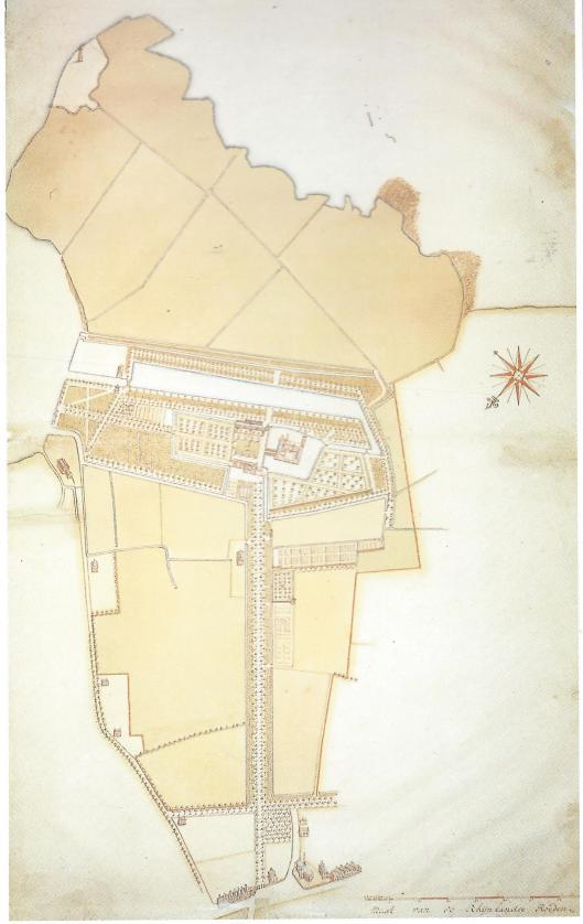 Gekeurde tekening van het Huis te Heemstede met voorplein, moestuin, plantage en naaste omgeving. tot en met de kerk op het huidige Wilhelminaplein en de Voorweg, Achterweg en Camplaan. Linksboven de vuurbaak aan het Haarlemermeer.