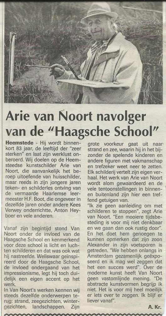 Arie van Noort, navolger van de 'Haagsche School' door Arie Kramer. Uit: Heemsteder, 13 februari 1997.