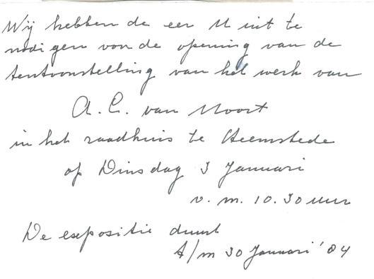Uitnodiging van A.C. (Arie) van Noort voor een tentoonstelling van zijn werk in het raadhuis Heemstede in januari 1984.