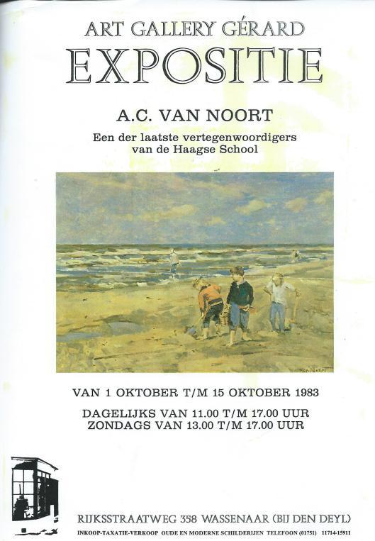 Aankodiging expositie van A.C.van Noort in 1983 bij Art Gallery Gérard, Wassenaar