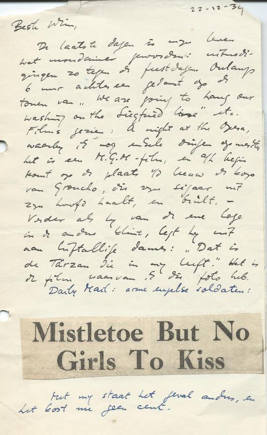 Brief van Dolf Verspoor aan zijn broer Wim Verspoor, gedateerd 22 december 1939