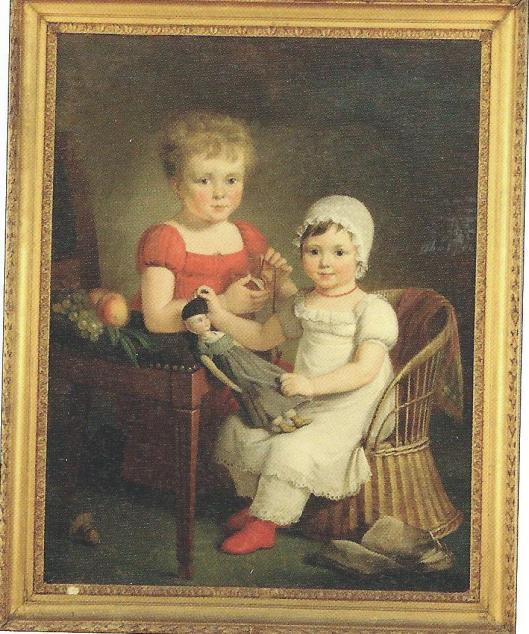 Schilderij door Adriaan de Lelie uit 1817 met David Mattheus van Gelder de Neufville en zijn dochter Margaretha Jacoba de Neufville