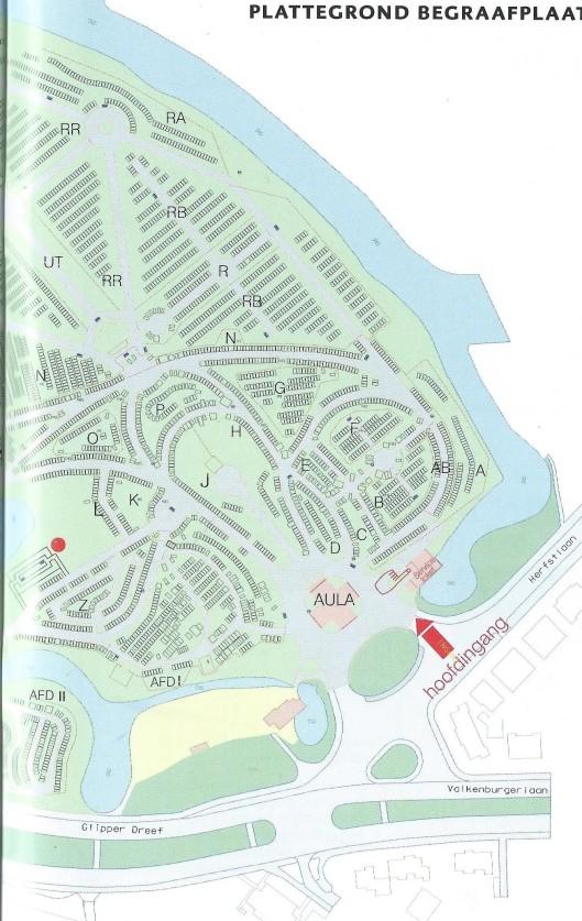 Plattegrond begraafplaats Heemstede, noordelijk deel.
