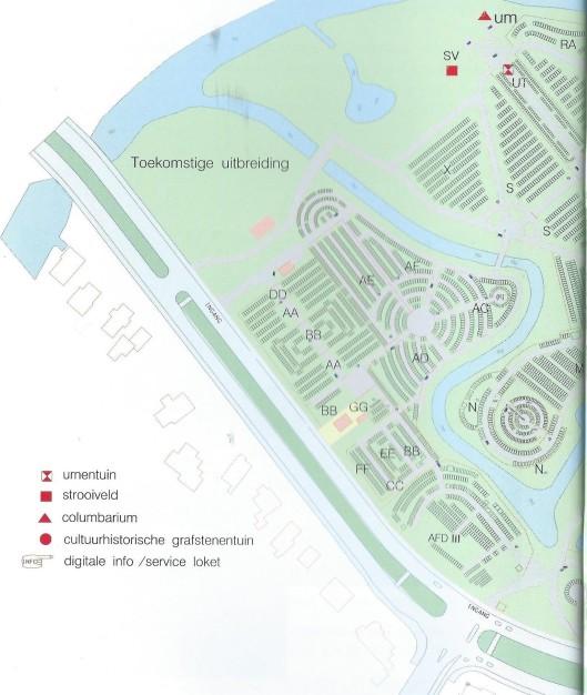 Plattegrond begraafplaats Heemstede, zuidelijk deel