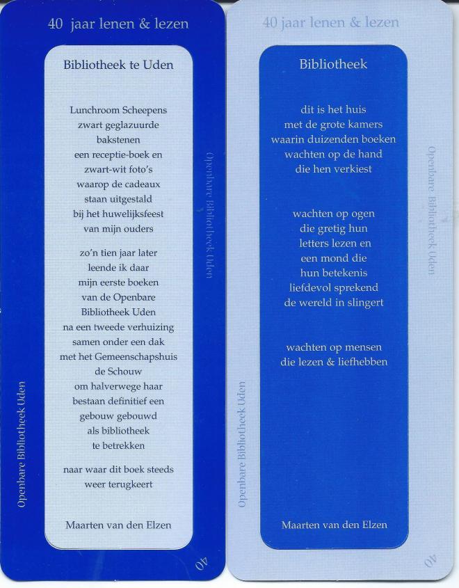 Boekenlegger bibliotheek Uden: 40 jaar lenen & lezen