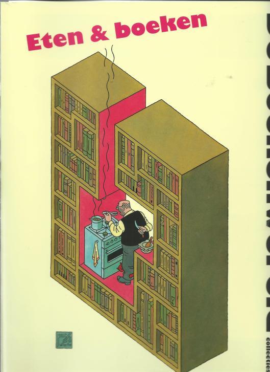 Joost Swarte: Eten & Boeken. Vooromslag van De Boekenwereld, 29, nummer 6, 2013 [tevens als  bijlage in affichevorm  verschenen]