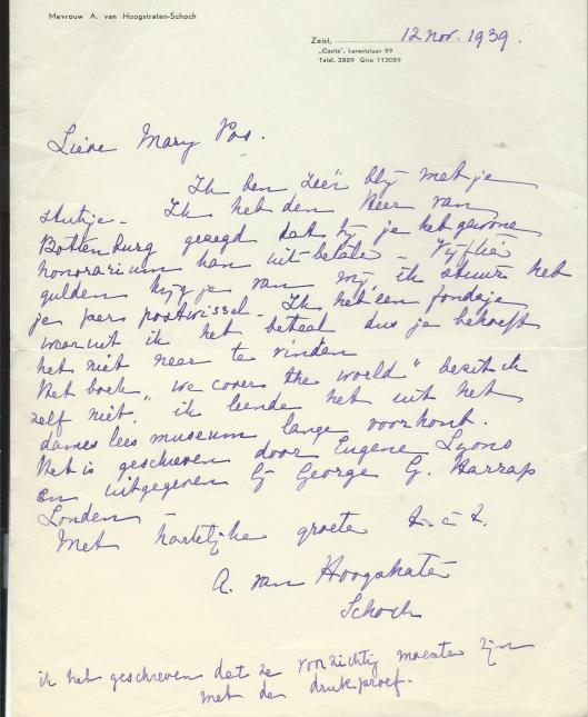 Brief van schrijver Bert Bakker aan Mart Pos, ongedateerd.